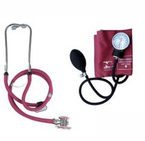Esfigmomanometro / Tensiômetro com Estetoscópio Vinho - Premium -