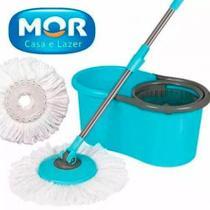 Esfregao Mop com Refil Adicional Limpeza Pratica com Balde Original MOR  - Com Refil Adicional -