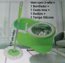 Esfregão Mop Limpeza 13 litros Cesto Inox 3 refis Rodízio Borrifador Tampa Silicone - Hay