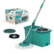 Esfregão Mop Pró Com Cesto Inox Completo + Refil tira Pó e Refil Limpeza Pesada Flash Limp -