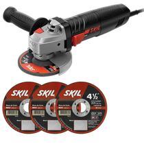 Esmerilhadeira Angular 4.1/2 POL 700W Modelo 9002 + BRINDE 3 Discos de Corte SKIL -