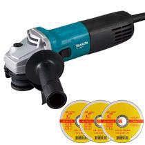 Esmerilhadeira Angular 4.1/2 POL 720W Profissional M9507B MAKITA MT + Kit Discos -