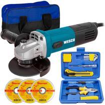 Esmerilhadeira Angular 4.1/2 POL 750W WS4740 WESCO com 3 Discos de Corte, Bolsa e Kit 12 Peças -
