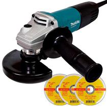 Esmerilhadeira Angular 4.1/2 POL 850W M9510B MAKITA MT + Kit Discos -