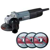 Esmerilhadeira Angular 4.1/2 POL 850W Profissional M9510G MAKITA + Brinde 3 Discos de Corte -