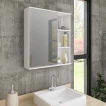 Espelheira para Banheiro 1 Porta e Prateleiras Treviso MGM Móveis Branco -