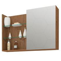 Espelheira para Banheiro com 1 Porta e 3 Prateleiras 80cm Jasmin-MGM -