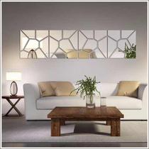 Espelho Acrílico De Parede Para Sala Design Geométrico 24,5 x 102 cm - Decoramix