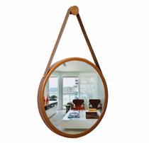 Espelho Adnet 50cm Redondo cobre alça marrom - Organizaê