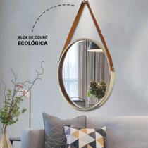 Espelho Adnet Decorativo Dourado com Alça Caramelo 45cm - Fwb