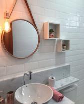 Espelho Adnet  Redondo Decorativo com Alça Cor Rose 60cm - Fwb