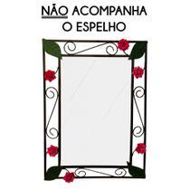 Espelho Banheiro com Moldura Artesanal de Ferro com Flores Rusticas - Libertas rosas artesanato