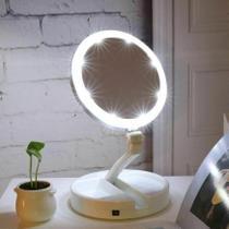 Espelho c/ Led Dobravel Maquiagem Aumenta 10x Dupla Face - Rohs