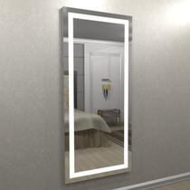 Espelho camarim jateado 1,80m x 0,80 com 2 cores de iluminação super led - branco frio e quente -  esp18-180 - CAMARIM MÓVEIS