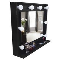 Espelho camarim moldura MDF com prateleira preto 90x73x20 - Dom Móveis -