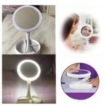 Espelho De Aumento Para Maquiagem Com Luz Led USB ou Pilha Mesa Dobrável Organizador -