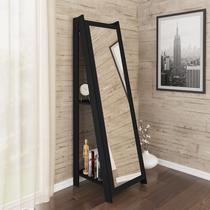 Espelho De Chão Com 2 Prateleiras Retrô 161cmx50cm - Preto - Movelbento
