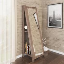 Espelho De Chão Com 2 Prateleiras Retrô 161cmx50cm - Rústico - Movelbento