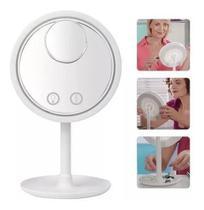 Espelho De Led C/ Ventilador Mini Espelho Aumento Usb Pilha - Vil