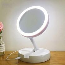 Espelho De Luz Led Dobravel Aumenta 10x maquiagem 110 ou 220v bivolt - Aiker