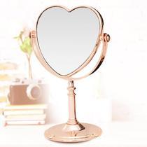Espelho de Mesa Maquiagem Dupla Face Rose Gold Coração - Wincy