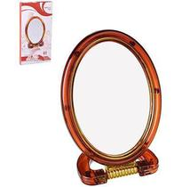 Espelho De Mesa Oval Dupla Face Com Base E Aumento De Plastico 10,5X14Cm - Wellmix