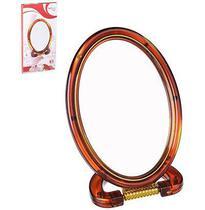 Espelho De Mesa Oval Dupla Face Com Base E Aumento De Plastico 6'' - Wellmix