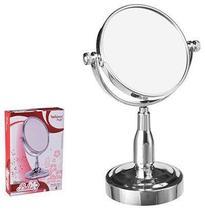 Espelho De Mesa Redondo Dupla Face Com Pedestal De Plastico Metalizado Prata 4'' - Wellmix