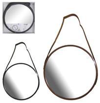 Espelho de pendurar emoldurado redondo decorativo + alca 33cm - Fwb