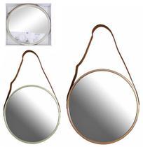 Espelho de pendurar emoldurado redondo decorativo metalizado + alca 33cm - Fwb