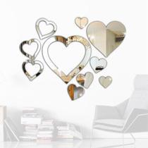 Espelho Decorativo Coração Kit Quarto Sala Hall Escritório - Tecnotronics