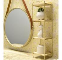 Espelho Decorativo Redondo 33cm Suspenso C/  Moldura Alça - Lullu Person