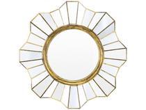 Espelho Decorativo Redondo com Moldura de Parede - Ouro Velho 39x39cm Inova Flower