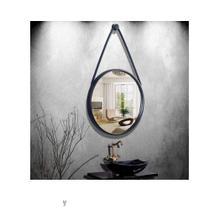 Espelho Emoldurado Redondo Decorativo Alça Cor Preto 33 Cm - Fwb