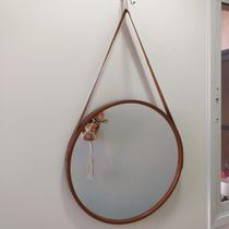 Espelho Emoldurado Redondo Decorativo com Alça - Cor Caramelo 45cm - Fwa