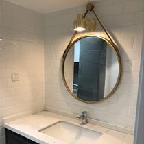 Espelho Emoldurado Redondo Decorativo com Alça - Cor Dourado - 43cm - Sanxia
