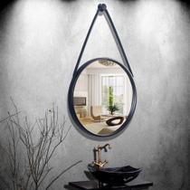 Espelho Emoldurado Redondo Decorativo com Alça - Cor Preto - 43cm - Sanxia