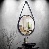 Espelho Emoldurado Redondo Decorativo com Alça - Cor Preto 45cm - Fwb