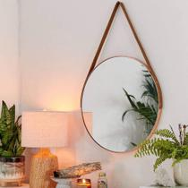 Espelho Emoldurado Redondo Decorativo com Alça - Cor Rosé - 33cm - Sanxia