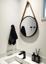 Espelho Emoldurado Redondo Decorativo  Cor Preto Alça Caramelo 33cm - Fwb