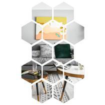 Espelho Mágico Decorativo 20x17 Hexagonal Flexível Auto Adesivo Acrílico Pet - Magma