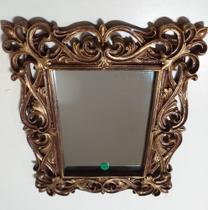 Espelho Moldura  Retangular Resina Dourado  21 x 26 cm - Decor Glass