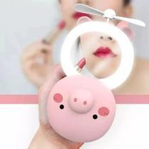 Espelho Portátil Led Ventilador Porquinho/Gatinho Rosa - Mkb