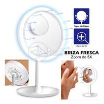 Espelho Portátil Para Maquiagem Com Luz LED Ring Light E Ventilador Fan 3 em 1 - Branco - Durawell