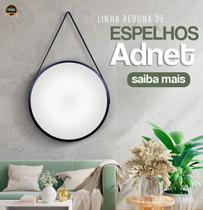 Espelho Redondo Decorativo adnet Preto com alça preta 50 Cm - Reduna