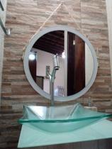 Espelho Redondo (Grande) 54 cm Decorativo Adnet  com Alça em corda Sisal - Reis E Missassi