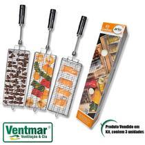 Espeto para Churrasco Kit 3 Grelhas ARKE Vitta Vitreo Premium Smart MultiUso Peixe e Coração - VENTMAR -