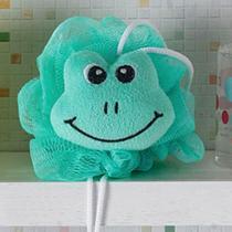 Esponja de Banho Bouton com Carinhas Sapinho com Corda Nylon Verde -