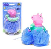 Esponja De Banho Peppa Pig Esguicha Água Dtc Azul -