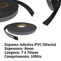 Espuma Fita Adesiva PVC  Borracha Vedação  e=8mm X 10 Mts  Preta - Leolud